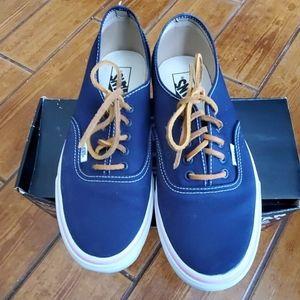 Vans Blue Sneakers Pink Trim Leather Laces 10.5 /9